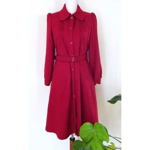 Salt & Pepper Pete Pan Collar Mod Belted Red Coat